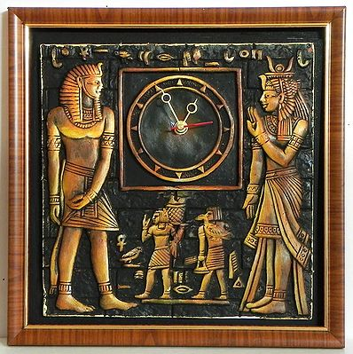 Battery Operated Wall Clock in a Decorated Terracotta Plate with Egyptian Figures - Wall Hanging