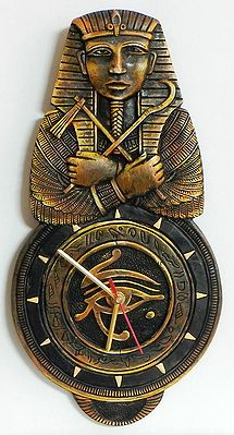 Battery Operated Wall Clock in a Decorated Terracotta Plate with Egyptian Pharao - Wall Hanging