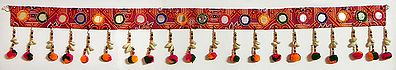 Red, Green and Saffron Woolen Door Toran with Cowrie and Mirrors - (Decorative Door Hanging)