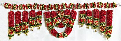 Satin Ribbon Flower Door Toran with Beads and Golden Bell - (Decorative Door Hanging)