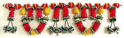 Satin Ribbon Flower Door Toran with Golden Bead and Bell - (Decorative Door Hanging)