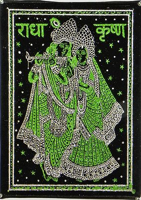 Radha Krishna - (Green and Silver Glitter Painting)