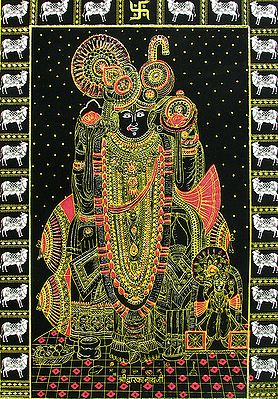 Krishna as Dwarkanathji - (Golden Glitter Painting)
