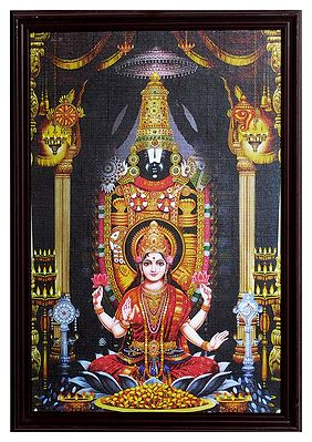 Framed Picture Of Balaji With Lakshmi Wall Hanging