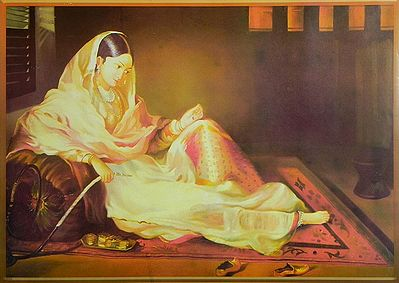 Mughal Courtesan with Hookah