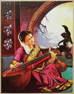 Lady from South India Playing Veena