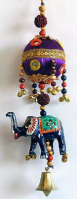 Hanging Elephant with Purple Thread Ball Decorated with Mirror,Sequin and Beads - Wall Hanging