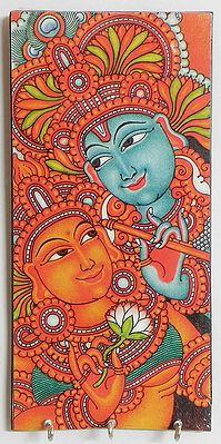 Radha Krishna Mural Deco Painting On A Wooden Key Rack