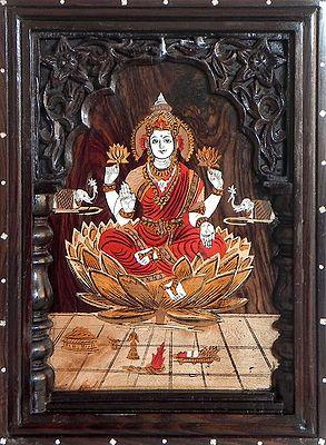 Lakshmi Inlaid Rosewood Wall Hanging