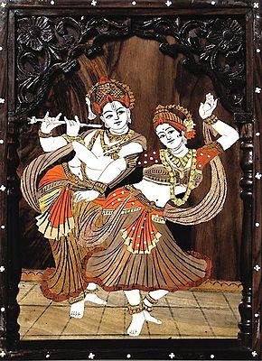 Radha Krishna In A Dancing Pose Wood Inlay Work