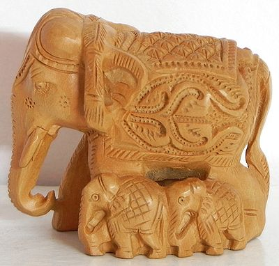 Intricately Wood Carved Elephant with Babies
