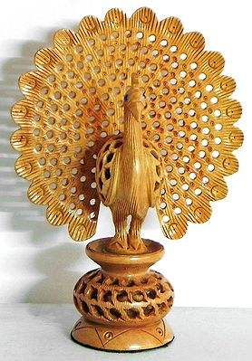 Intricately Wood Carved Peacock
