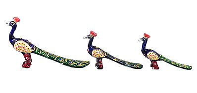 Set of 3 Decorated Blue Wooden Peacocks