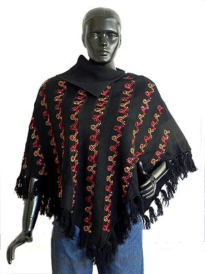 Black Woollen Poncho with Red, Brown Embroidery and Bead Work in Front with Collar