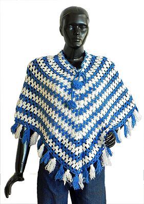 White and Blue Striped Crocheted Woolen Poncho
