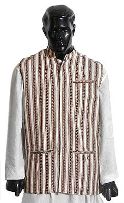 Striped Off-White Close Neck Sleeveless Woolen Jacket with Collar (For Men)