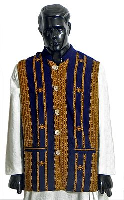 Dark Blue Close Neck Sleeveless Woolen Jacket with Collar (For Men)