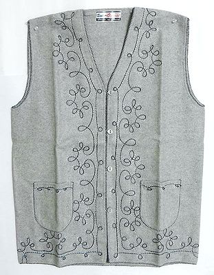 Embroidered Light Grey Woolen Sleeveless Jacket (For Ladies)
