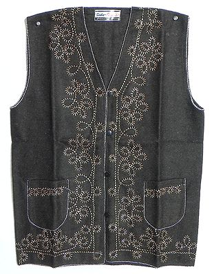 Embroidered Dark Brown Woolen Sleeveless Jacket (For Ladies)