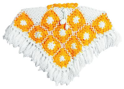 Dark Yellow with White Crocheted Woolen Poncho