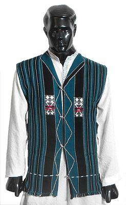 Manipuri Sleeveless Stripe Jacket (For Men)