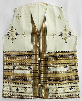 White Woolen Jacket with Light and Dark Brown Thread Work and Mirror Work (for Men)
