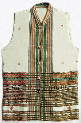 White Woolen Jacket with Green and Brown Thread Work (For Men)