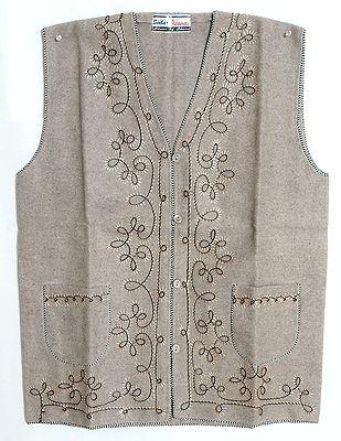 Embroidered Light Beige Woolen Jacket (For Men)