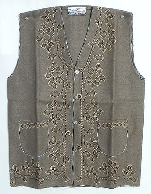 Embroidered Light Brown Woolen Sleeveless Jacket (For Ladies)