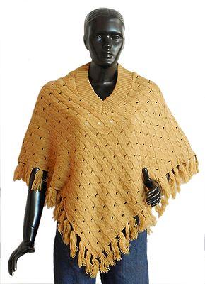 Beige Woolen Poncho