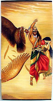 Jatayu Vadham - Sita Horrified Seeing Ravana Cutting Jatayu's Wing - Raja Ravi Varma Painting (Wall Hanging)