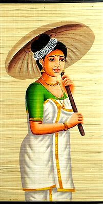 Beautiful Lady in Traditional Dress with Umbrella from Kerala(Wall Hanging)