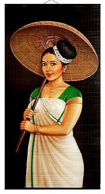 Kerala Beauty with Umbrella - Wall Hanging