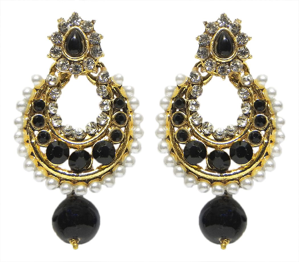 bc57b3524 Black and White Stone Studded Hoop Earrings. Hover to zoom