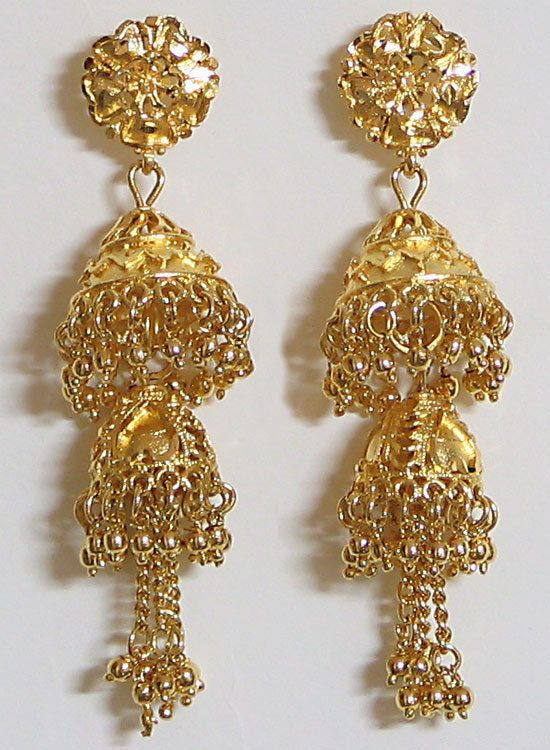 Gold plated double drop chandelier earrings mozeypictures Image collections