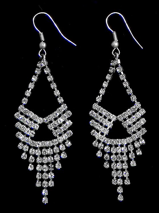 61dd8d23e White Stone Studded Jhalar Earrings. Hover to zoom