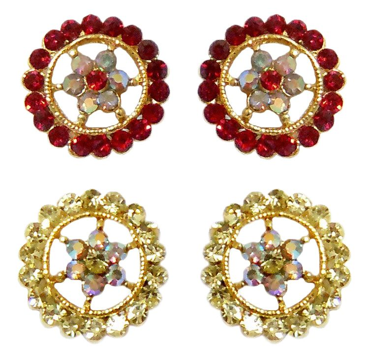 189fc5914b4ee Set of 2 Pairs White and Red Stone Studded Stud Earrings
