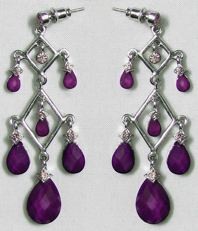 Purple Stone Studded Metal Earrings Hover To Zoom