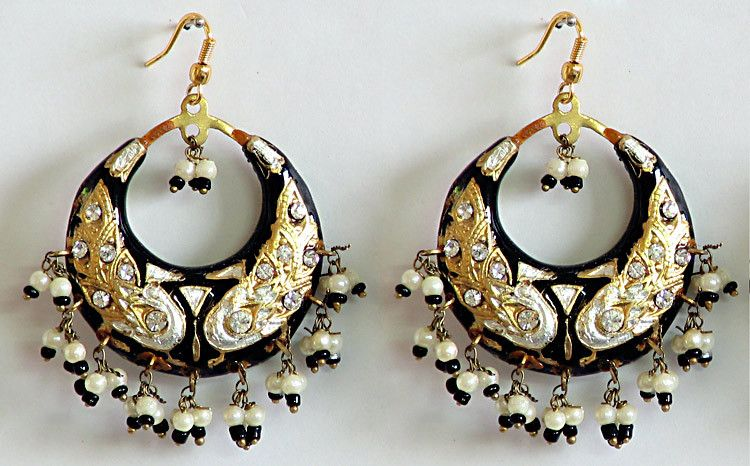 61df37594 White with Black Meenakari Hoop Earrings. Hover to zoom