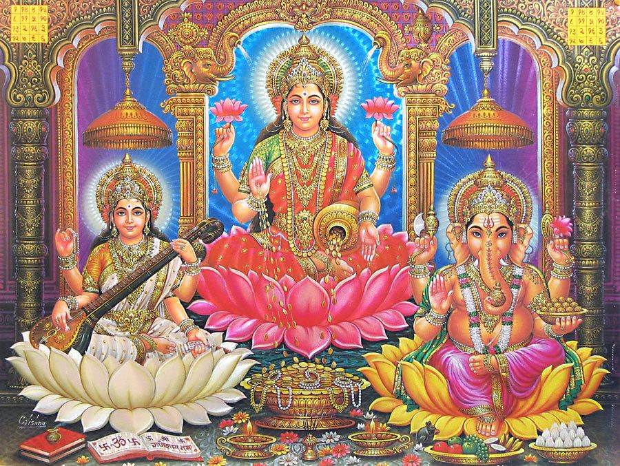 Calendar Art Of Hindu Gods : Lakshmi saraswati and ganesha