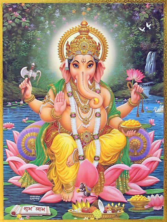 Lord Ganesha Sitting on Lotus