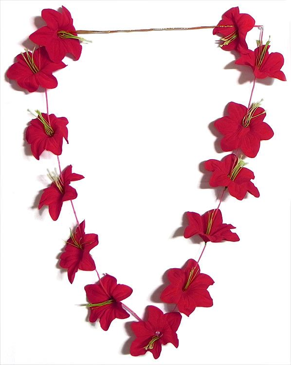 Red Cloth Artificial Hibiscus Flower Garland