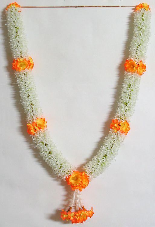 White Jasmine Flower Garland With Saffron Flowers