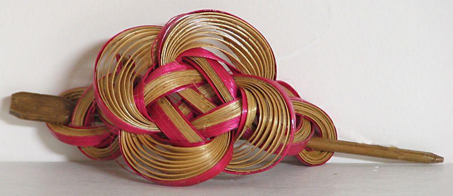 Bamboo carved designer hair clip