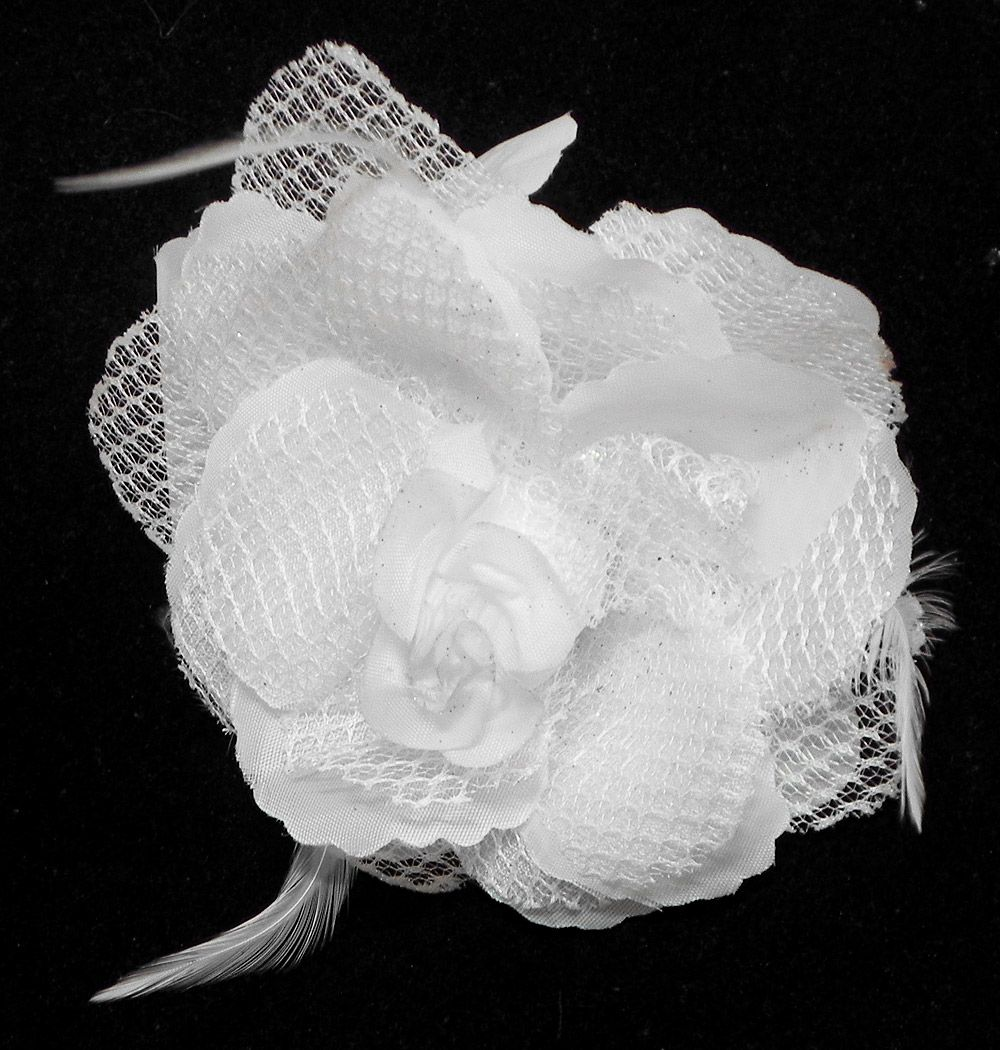 White Rose Hair Clip With Feather