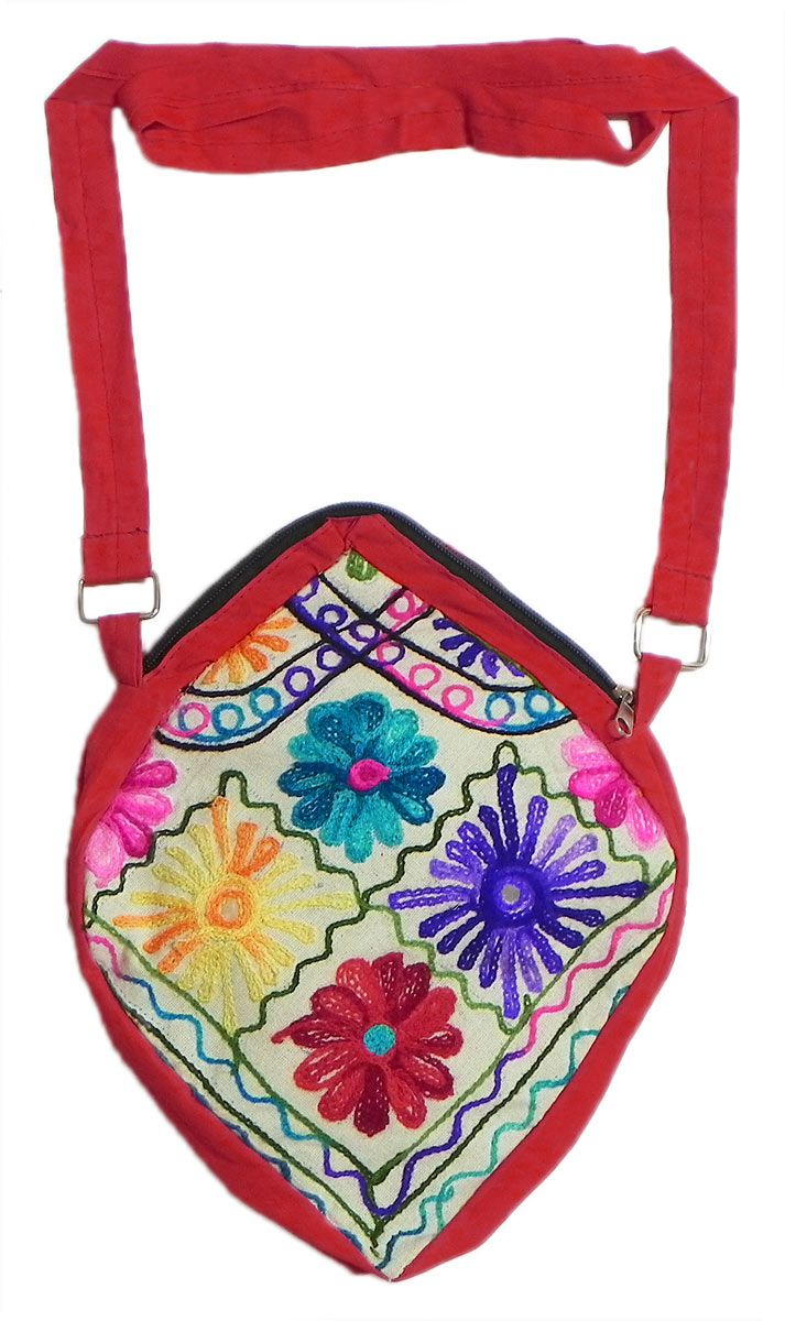 Kashmiri embroidery bag with zipped pocket inches