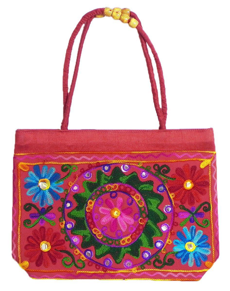 Kashmiri embroidery bag with zipped pocket