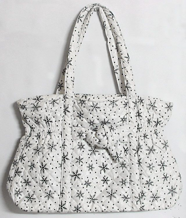 Printed Soft Cloth Bag with One Big and One Small Zipped Pocket 88a443e022b4