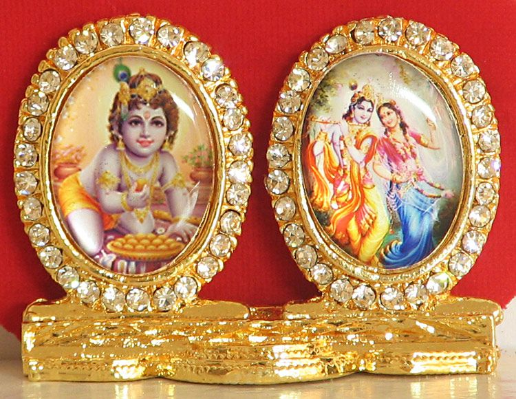 68a66307e Bal Gopala and Radha Krishna in a Decorative Stone Studded Metal frame  (Currently out-of-stock)