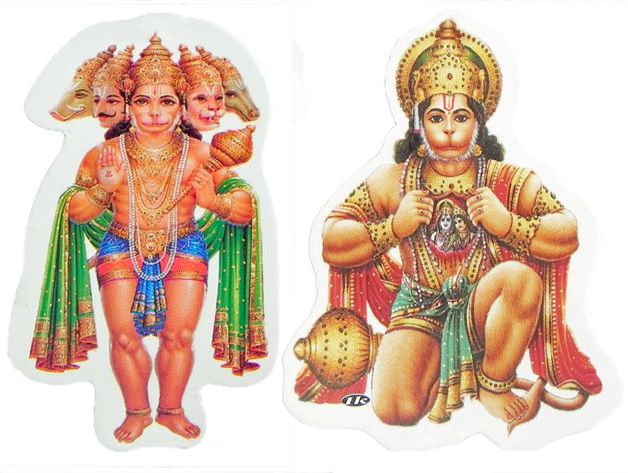 hanuman and panchamukhi hanuman - set of two stickers
